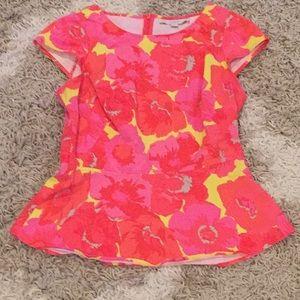 Bright short sleeved peplum top from LOFT sz 2